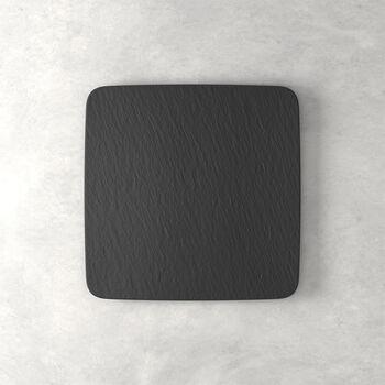 Manufacture Rock plat à servir/assiette gourmet carré(e), noir(e)/gris(e), 32,5x32,5x1,5cm