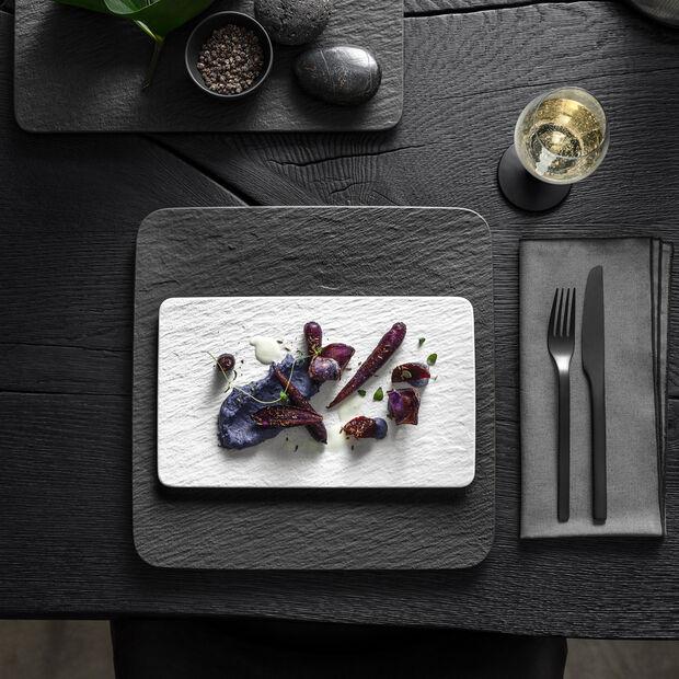 Manufacture Rock Blanc assiette multifonctions rectangulaire, blanche, 28x17x1cm, , large
