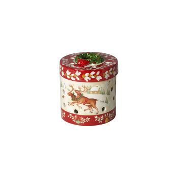 Christmas Toys Petite boîte cadeau ronde, rennes 9,5x9,5x10cm