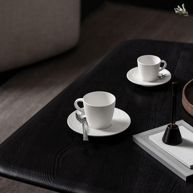 Manufacture Rock Blanc tasse à café avec sous-tasse, blanche, 2pièces, , large