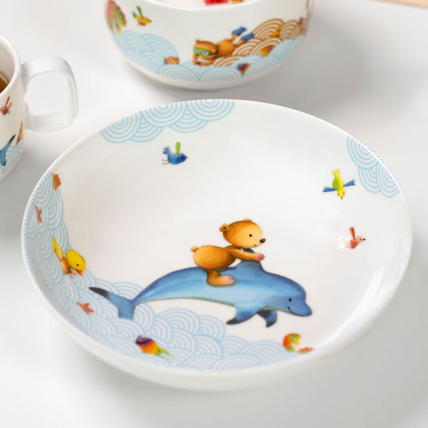 Happy as a Bear Assiette creuse pour enfants 18,5x18,5x4,5cm, , large