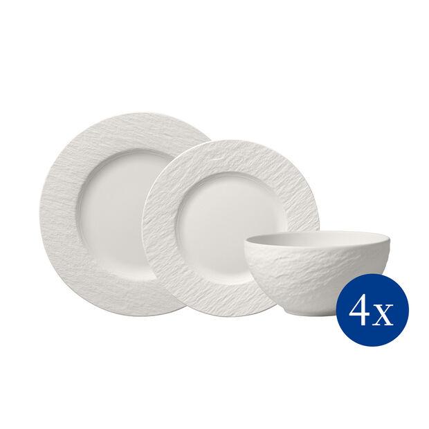 Manufacture Rock blanc Ensemble d'assiettes, 12p., 4personnes, , large