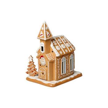 Winter Bakery Decoration église en pain d'épices, marron/blanc, 17x13x20cm