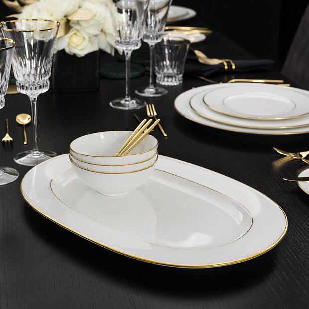 Anmut Gold plat ovale, longueur 41cm, blanc/or, , large