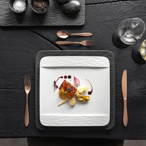 Manufacture Rock Blanc assiette plate carrée, blanche, 28x28x2cm, , large