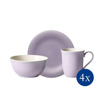 Color Loop Blue Blossom ensemble pour le petit-déjeuner, lilas, 12pièces