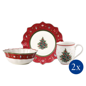 Toy's Delight Breakfast for 2 rouge, set 6pces 36x25x14cm