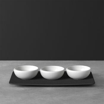 NewMoon ensemble de coupelles à dips, 4pièces, blanches/ardoise