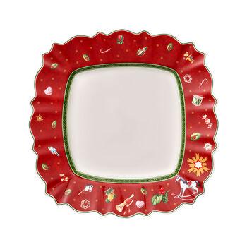 Toy's Delight assiette plate carrée, rouge/multicolore, 28x28cm
