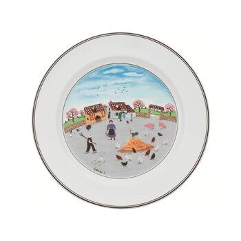 Design Naif assiette plate motif poulailler