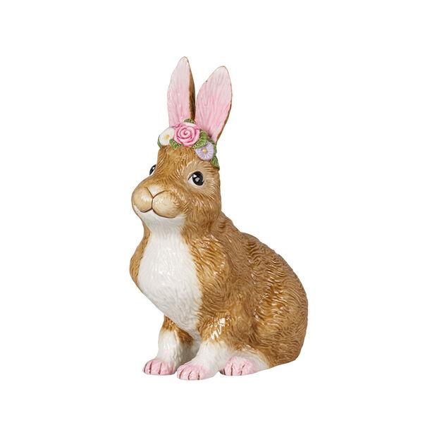 Easter Bunnies lapin de Pâques grand modèle assis avec couronne de fleurs, marron/rose, , large