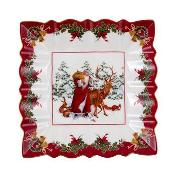 Toy's Fantasy coupe carrée Père Noël avec animaux de la forêt, multicolore/rouge/blanc, 23x23x3,5cm