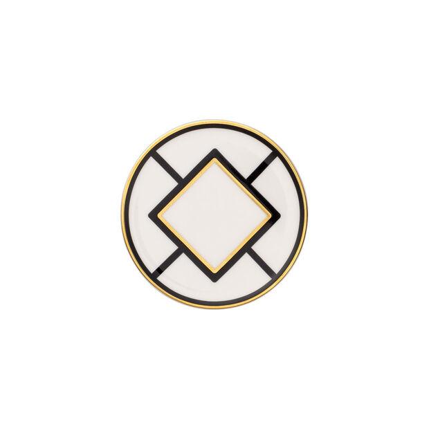 MetroChic dessous de verre, diamètre 11cm, blanc-noir-or, , large