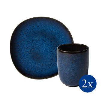 Lave ensemble pour le petit-déjeuner, 4pièces, pour 2personnes, bleu