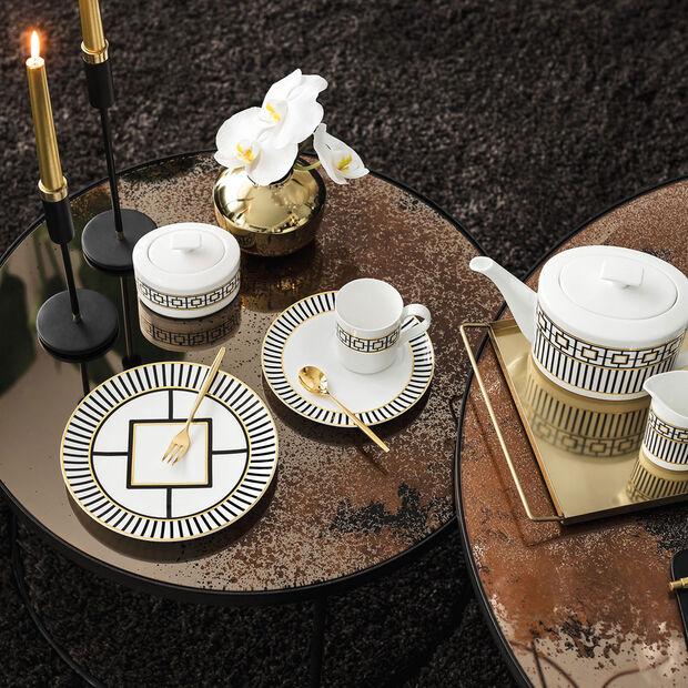 MetroChic assiette à dessert et pour le petit-déjeuner, blanc-noir-or, , large