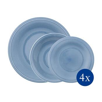 Color Loop Horizon ensemble de vaisselle de vase, bleu ciel, 12pièces