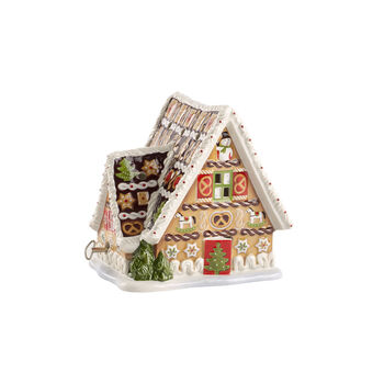 Christmas Toys Maison pain d'épices av. boîte à musique 16x13x16cm