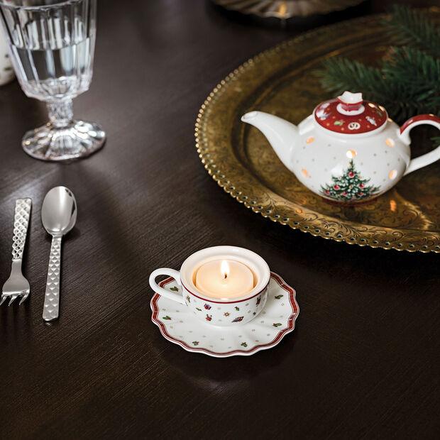 Toy's Delight Decoration support pour bougie chauffe-plat en forme de tasse à café, blanc/rouge, 9,8x9,8x4cm, , large