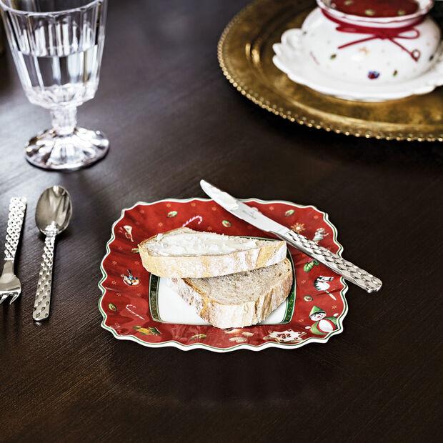 Toy's Delight, assiette à pain carrée, rouge/multicolore, 17x17cm, , large