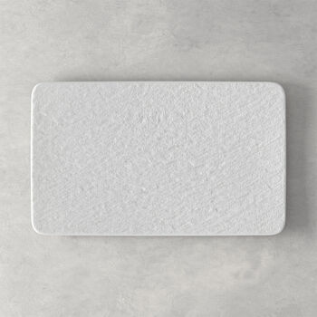 Manufacture Rock Blanc assiette multifonctions rectangulaire, blanche, 28x17x1cm