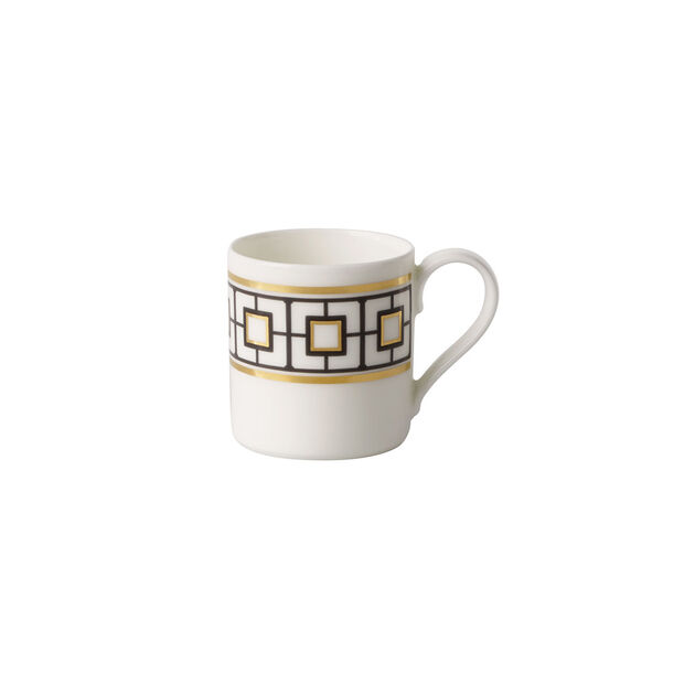 MetroChic tasse à moka et expresso, 80ml, blanc-noir-or, , large