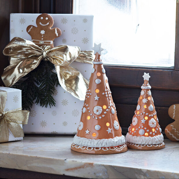 Winter Bakery Decoration petit sapin de Noël en pain d'épices, marron/blanc, 8x8x15cm, , large