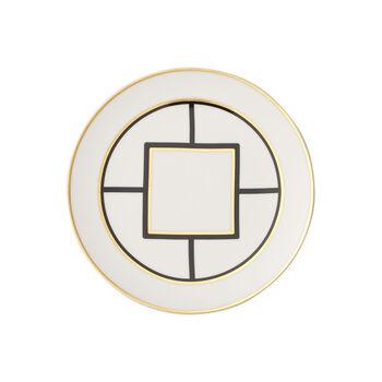 MetroChic assiette à dessert et pour le petit-déjeuner, diamètre 22cm, blanc-noir-or