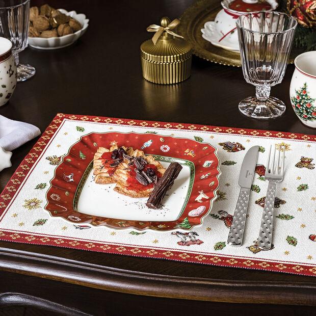 Toy's Delight assiette à dessert carrée, rouge/multicolore, 24x24cm, , large