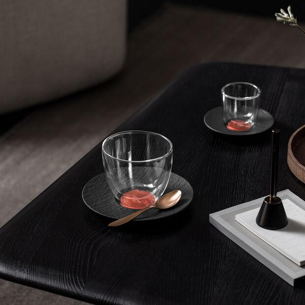 Manufacture Rock Glow sous-tasse à café au lait, cuivre/noire 17x17x2cm, , large
