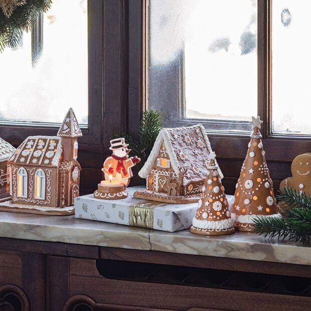 Winter Bakery Decoration bonhomme de neige en pain d'épices, marron/blanc, 7x7x11cm, , large