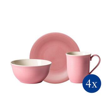 Color Loop Rose ensemble pour le petit-déjeuner, rose, 12pièces