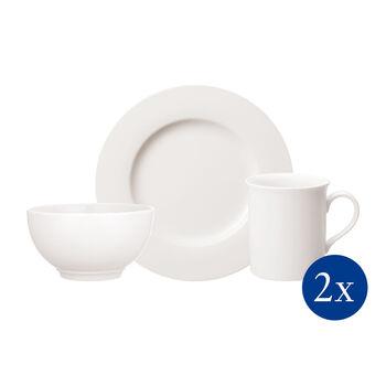 Twist White Ensemble petit-déjeuner pour deux personnes, 6pièces