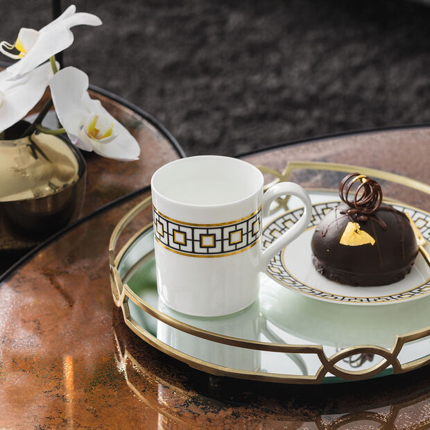 MetroChic mug à café, 11x8x9cm, blanc-noir-or, , large