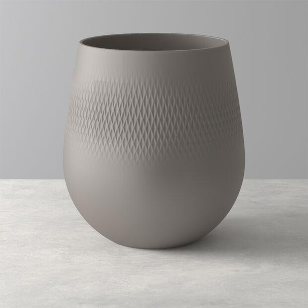 Manufacture Collier vase, 21x23cm, Carré, taupe, , large