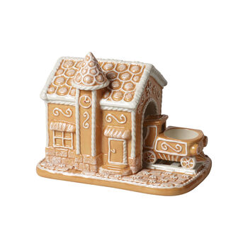 Winter Bakery Decoration gare en pain d'épices, marron/blanc, 20x13x16cm