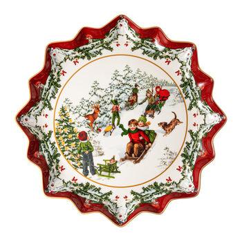 Toy's Fantasy assiette à pâtisserie creuse promenade en traîneau, multicolore/rouge/blanc, 39x39x3,5cm