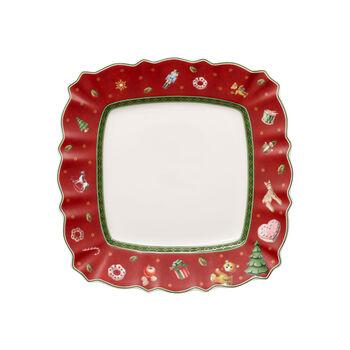 Toy's Delight assiette à dessert carrée, rouge/multicolore, 24x24cm