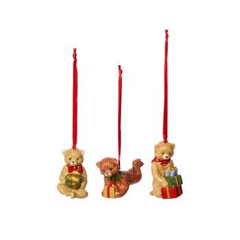 Nostalgic Ornaments ensemble d'ornements ours en peluche, multicolore, 3pièces, 9,5cm