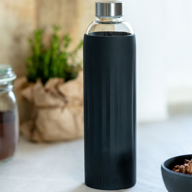 ToGo&ToStay gourde en verre, 1l, avec housse silicone, noire, , large