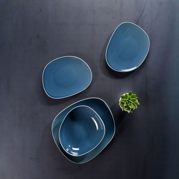Organic Turquoise assiette plate 28x24x3cm, , large
