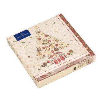 Winter Specials Bakery serviette de table sapin de Noël, blanche/multicolore, 20pièces, 33x33cm