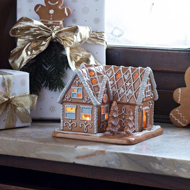 Winter Bakery Decoration villa en pain d'épices, marron/blanc, 16x16x13cm, , large